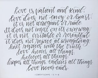 1 Corinthians 13:4-8 | bible verse art | hand lettered bible verse | scripture | love is patient  love is kind verse