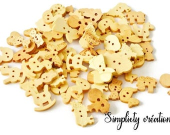 Set of 20 natural wood buttons