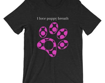 Short-Sleeve Unisex T-Shirt, Ladies Tshirt, Mens Tshirt, Puppy Love Tshirt, Dog lover shirt, Dog Paw Tshirt, Polka Dot Tshirt