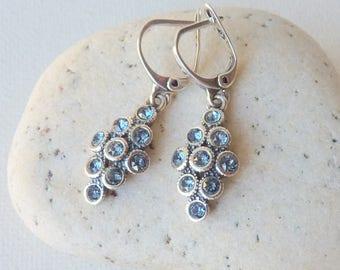 Blue Cubic Zircon Sterling Silver Earrings Vintage Blue Zirconia Lever Back Earrings,Retro Jewelry Retro Zircon Vintage Cubic Zircon Jewelry
