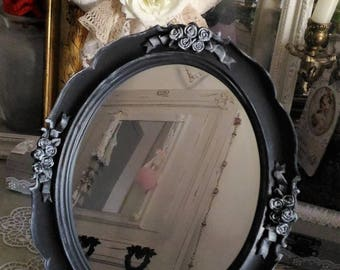 Small vanity mirror Victorian grey shabby chic effect