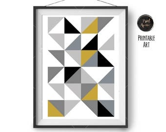 Abstract Geometric Print, Triangle Print, Scandinavian Print, Yellow Print, Grey Poster, Abstract Art, Abstract Poster, Downloadable Poster
