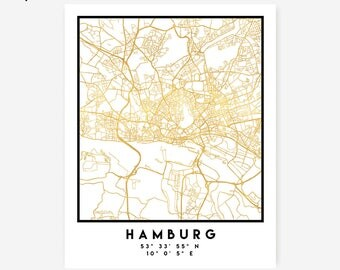 Hamburg Map Coordinates Print - Germany City Street Map Art Poster, Gold Hamburg Map Print, Hamburg Germany Coordinates German Poster Map