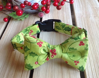 Holly Jolly Green and Red Christmas Dog Bow Tie Small