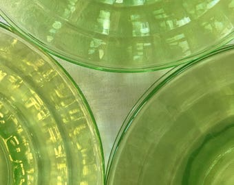 "Green Depression Glass 6 1/4"" Cake/Dessert Plates (13 plates) ""Block Optic"" Pattern by Anchor Hocking 1929-1933, Uranium Glass Plates"