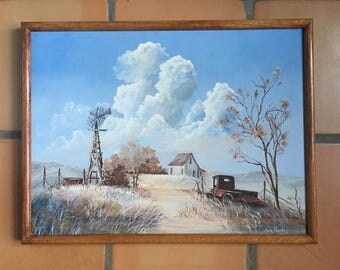 Vintage Original Oil Painting Signed Framed 18 x 24, Windmill, Old Pickup Truck and Home, Abandoned Farm Foothills Landscape, Beautiful