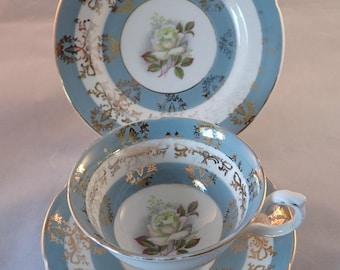 Royal Grafton Rose Pattern Light Blue Trio