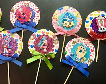 12 glitter Shopkins cupcake toppers
