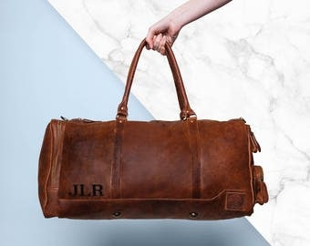 Leather Holdall/Duffle - Weekend Bag - Overnight Bag in Vintage Brown by MAHI Leather