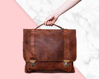 """Leather Satchel - Messenger Bag, 15"""" Laptop capacity in Vintage Brown by MAHI Leather"""