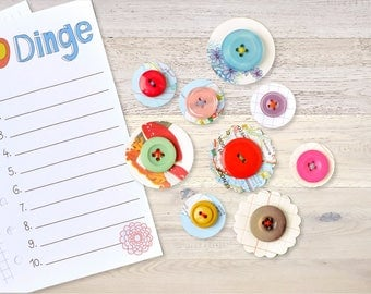 9 Paper Flowers with Button Vintage Scrapbooking Planner Embellishments