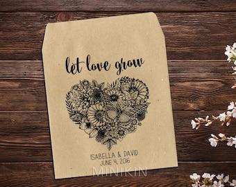 Wedding Seed Packets, Rustic Wedding Favor, Seed Packet Favor, Heart Wedding Favor, Let Love Grow Favor, Personalized Favor, Seed Favor x 25