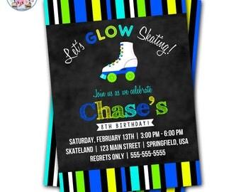 Roller Skate Party Invitation, Roller Skating Invitation, Roller Skate Invite, Editable Roller Skate Invite, Neon Roller Skate, Glow Skating