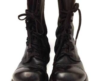 VTG Corcoran Hobnail Boots/Vintage 1950s Military Jump Boots/Black Paratrooper Flight Boots/Mens Size 6.5 E