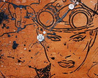 Steampunk sexy woman painting painting mixed media wall art on canvas by MA artiste peintre