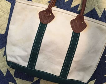 Vintage LLBean Boat and Tote Canvas Tote Bag With Leather Handles