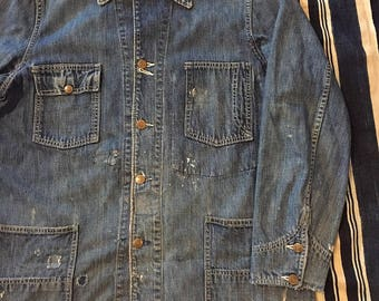 Vintage 1950s Big Smith Denim Chore Jacket Mens M/L(42) Sanforized Union Made