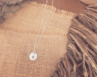 OUR BEST SELLER - Sterling Silver 12mm Disc Handstamped Initial Necklace