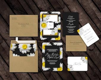 Daisy // Wedding Invitation Suite // Custom Envelopes