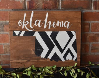 Oklahoma   Rustic Farmhouse Sign   State of Oklahoma   Custom State Sign Available   Geometric Pattern   Hand Painted   Home Decor