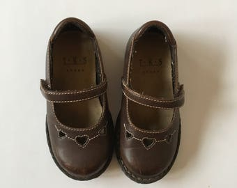Vintage Brown Leather Heart Flats Shoes Girls Toddler Sz 8