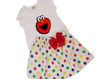 Girl Elmo birthday outfit, Toddler Elmo outfit  Girl Elmo name age dress Girl birthday outfit baby Elmo outfit toddler Elmo name age dress