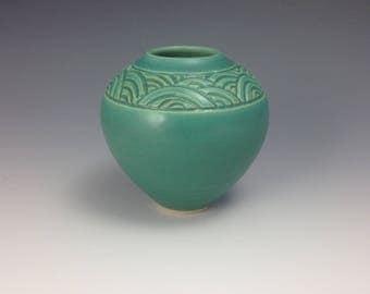Blue green wave bud vase
