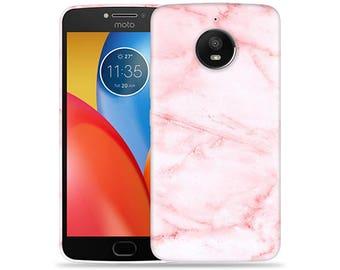 Motorola Moto E4 Case - Motorola E4 Case #Pink Marble Hard Phone Cover