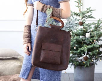 Leather tote bag - wood purse handles - crossbody handbag - leather bag with pocket - brown leather tote - Christmas gift- Christmas present