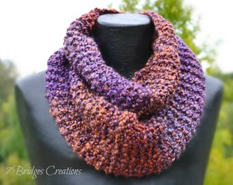 Handmade Soft and Warm Knit Infinity with a mix of Purple and Orange hues
