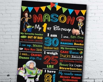 Toy Story Birthday Chalkboard - Toy Story 1st Birthday Chalkboard - Toy Story Birthday Sign - Toy Story Birthday Poster