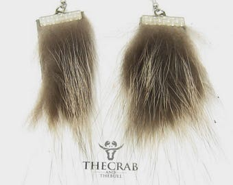 Raccoon Fur Earrings with Sterling Silver Hooks