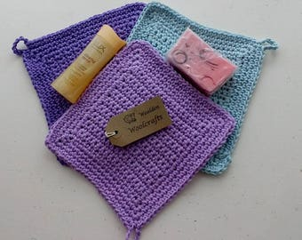 Washcloths,Facecloths,100% cotton,Mothers Day gift,present,flannel,crocheted
