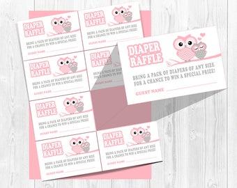 Pink owl diaper raffle tickets, Pink diaper raffle game, Owl diaper raffle inserts, Owl baby shower, diaper raffle tickets, Girls, shower