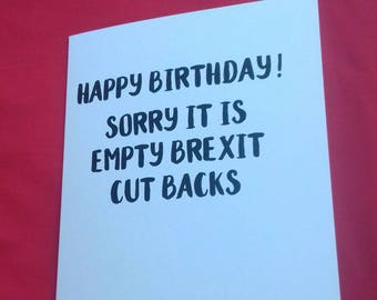 Brexit Jokes, Birthday Cards, Budget Jokes, Politics Cards, EU Humour, Light Hearted Cards, Unique English Jokes, British Jokes