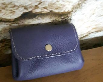 Purple and pink genuine leather bellows purse
