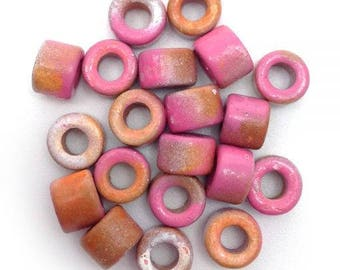 Ceramic cylinder, pink Brown spotted, 6 mm, 20 pieces