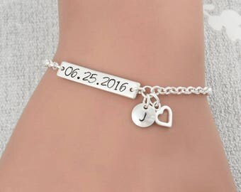 Wedding Date Bracelet, Sterling Silver Date Stamped Bracelet, Personalized Bracelet, Bridesmaid Initial Bracelet, Custom Date Bracelet