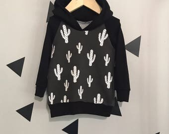 cactus hoodie monochrome baby hoodie cactus baby boy baby teepee sweatshirt cactus