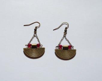 Boucles d'oreilles Inca,perles rouges