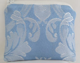 Small Blue and White Print Brocade and Satin Coinpurse Coin Purse Pendulum Crystals Zipper Bag Pouch Fancy