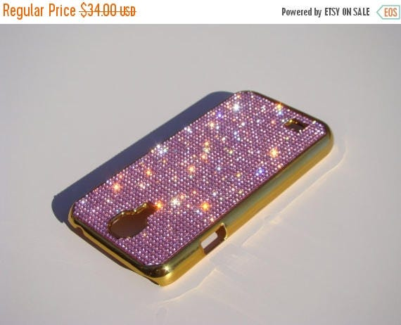 Sale Galaxy S4 Pink Diamond Crystals on Gold-Bronze Electro Plated Plastic Case. Velvet/Silk Pouch Bag Included, Genuine Rangsee Crystal Cas