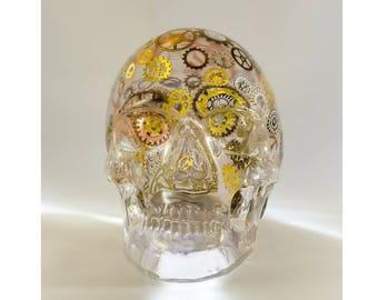 Human Skull Art, Steampunk Skull Head of Human Skull Sculpture, Steampunk Art, Skull decor, Handmade sugar skull decoration, Clockwork Gears