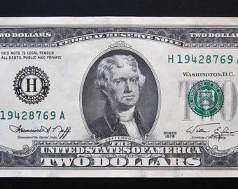 1976 Two Dollar Bill  L 25521131 H 19428769 A