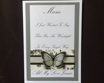 Handmade Personalised Luxury Mothers Day Card 3D Butterfly Silver Giltter Trim Boxed Optional Step Mum Son Daughter Grandmother