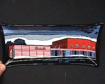 Vintage Advertising Glass Tray for a Mahalls 20 lane Bowling Alley in Lakewood Ohio