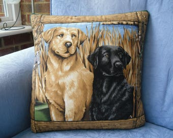 Hand Stitched Quilted Labrador Cushion Cover