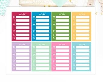 Weekly Work Schedule Planner Stickers, Matte Glossy, Sticker Sale – 3089