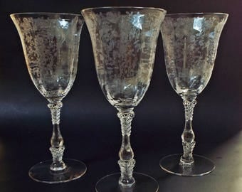 Set of Three Cambridge Rose Point Clear Water Goblets EXC 1930s Elegant Glass 8-3/8 in.