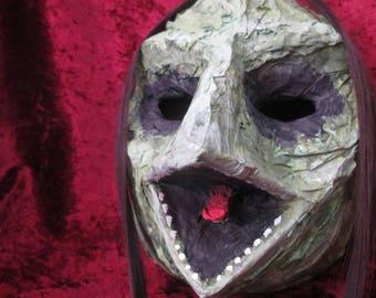 Mask from paper mache. Frog. Frog. Lizard. V. Green reptilian monster